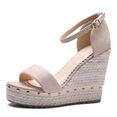 Vrouwen Kunstleer Wedge Heel Sandalen Plateau Wedges Peep Toe met Klinknagel schoenen