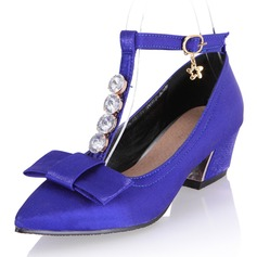 Women's Silk Like Satin Chunky Heel Pumps Closed Toe Mary Jane With Rhinestone Bowknot shoes