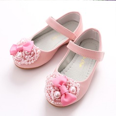 Girl's Leatherette Flat Heel Round Toe Closed Toe Mary Jane Flats With Bowknot Imitation Pearl Velcro
