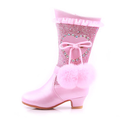 Girl's Mid-Calf Boots Leatherette Flower Girl Shoes With Crystal pompom
