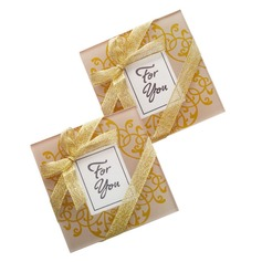 Lovely Square Glass Creative Gifts With Ribbons