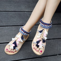 Женщины кожа Плоский каблук Сандалии Открытый мыс Босоножки с Цепь кисточкой Плетеный ремень обувь (087124374)