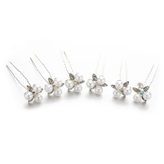 Ladies Lovely Crystal/Imitation Pearls Hairpins With Venetian Pearl/Crystal (Set of 5) (042148459)