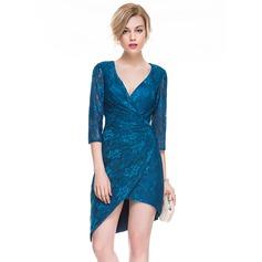 Платье-чехол V-образный асимметричный Кружева Коктейльные Платье с Рябь