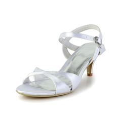Women's Silk Like Satin Kitten Heel Sandals With Buckle