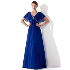 Empire-tyylinen V-kaula-aukko Lattiaa hipova pituus Sifonki Morsiamen äiti-mekko jossa Rypytys Helmikuvoinnit