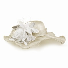 Ladies' Fashion Cambric With Feather Floppy Hat