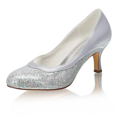Women's Silk Like Satin Stiletto Heel Closed Toe Pumps With Sequin