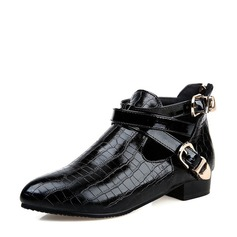 Women's PU Low Heel Boots Ankle Boots With Buckle Zipper shoes