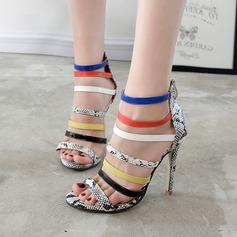 De mujer Cuero Tacón stilettos Sandalias Salón Encaje con Estampado de animales Cremallera Material Block zapatos