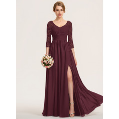 A-Line V-neck Floor-Length Chiffon Lace Bridesmaid Dress With Ruffle Split Front (007190712)