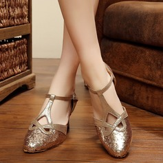 Women's Sparkling Glitter Pumps Ballroom With T-Strap Hollow-out Dance Shoes
