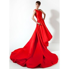 A-Line/Princess One-Shoulder Asymmetrical Charmeuse Prom Dresses With Beading