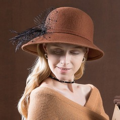 Ladies' Special/Glamourous/Simple/Exquisite/High Quality/Romantic/Vintage/Artistic Wool With Feather Floppy Hat