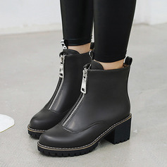 Women's Chunky Heel Ankle Boots With Zipper shoes