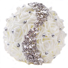 Elegant Round Satin/PE/Rhinestone Bridal Bouquets/Bridesmaid Bouquets