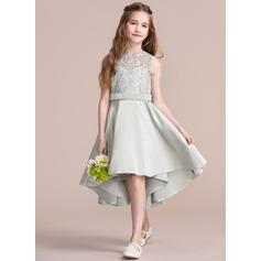 Forme Princesse Col rond Asymétrique Satiné Robe de demoiselle d'honneur - junior (009095078)