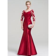 Trompete/Sereia Decote redondo Longos Cetim Vestido de festa (017093464)