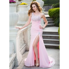 Trumpet/Mermaid One-Shoulder Court Train Chiffon Prom Dress With Ruffle Beading Split Front