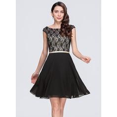 Vestidos princesa/ Formato A Decote redondo Curto/Mini De chiffon Renda Vestido de cocktail