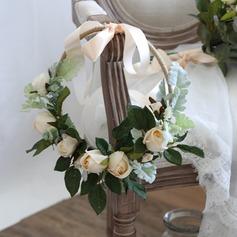 Encanto Redondo Satén Ramos de novia/Ramos de la dama de honor (vendido en una sola pieza) - Tocado de Flores