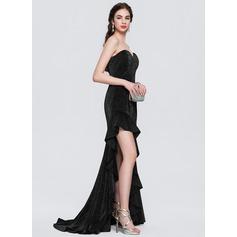 A-Line/Princess Strapless Sweetheart Asymmetrical Jersey Evening Dress With Cascading Ruffles