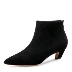 Femmes Suède Talon bottier Escarpins Bottines avec Zip chaussures