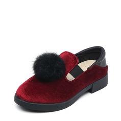 девичий Круглый носок Loafers & Slip-Ons замша Плоский каблук На плокой подошве