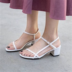 Women's Leatherette Chunky Heel Sandals Pumps With Buckle shoes