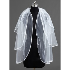 Three-tier Fingertip Bridal Veils With Ribbon Edge
