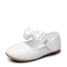 Muchacha Punta Cerrada Lackleder Talón plano Planos Zapatos de niña de las flores con Bowknot Velcro