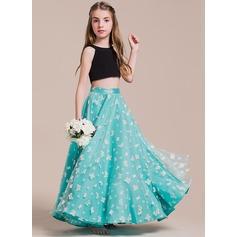 A-Linie/Princess-Linie U-Ausschnitt Bodenlang Tüll Kleid für junge Brautjungfern (009087900)