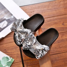 Girl's Peep Toe imitatieleer Flats Slippers met strik Lovertje