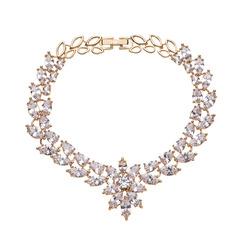 Ladies' Vintage Zircon/Platinum Plated Cubic Zirconia Necklaces For Bride