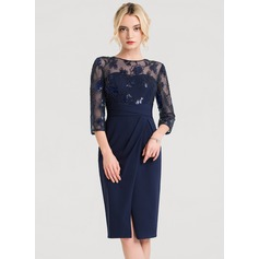 Sheath/Column Scoop Neck Knee-Length Stretch Crepe Cocktail Dress With Beading Sequins Split Front (016150210)