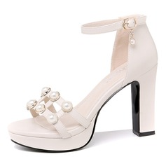 Women's Leatherette Chunky Heel Peep Toe With Pearl