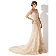 A-Line/Princess Off-the-Shoulder Chapel Train Tulle Lace Wedding Dress (002011393)