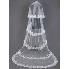 Duas camada Véus de noivas capela com Borda com aplicação de renda
