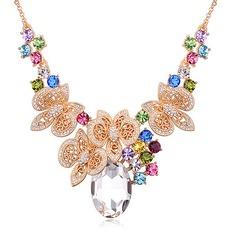 Lysande Legering Guldpläterad med Oäkta Kristall Glasögon Damer' Mode Halsband