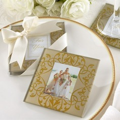 Floral Design Glass Coaster With Ribbons (Set of 2 pieces)
