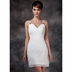 Sheath/Column Sweetheart Short/Mini Chiffon Homecoming Dress With Ruffle Beading
