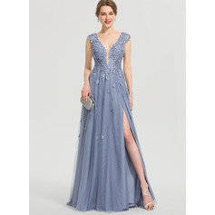 A-Line V-neck Floor-Length Tulle Prom Dresses With Sequins Split Front (018192377)