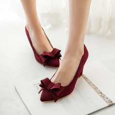 Vrouwen Suede Wedge Heel Pumps Closed Toe Wedges met strik schoenen