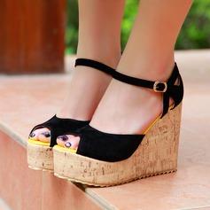 Mulheres Camurça Plataforma Sandálias Calços Peep toe com Fivela sapatos