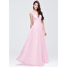 Vestidos princesa/ Formato A Decote V Longos De chiffon Vestido de baile com Pregueado Bordado Apliques de Renda lantejoulas