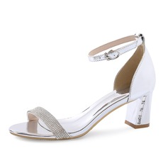 Women's Patent Leather Chunky Heel Sandals Peep Toe With Rhinestone shoes (087080105)