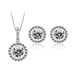 Bonito Zircon/Platinadas Senhoras Conjuntos de jóias