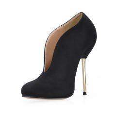 Frauen Wildleder Stöckel Absatz Geschlossene Zehe Stiefelette Schuhe