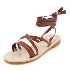 Mulheres Couro Sem salto Sandálias Sem salto Peep toe Sapatos abertos com Aplicação de renda sapatos