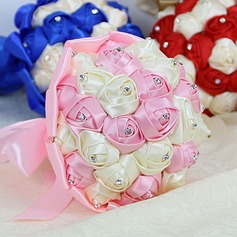Colorful Round Satin/Ribbon/Venetian Pearl/Fabric/Imitation Pearl Bridesmaid Bouquets -